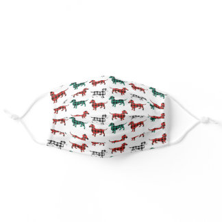 Country Classic Buffalo Plaid Dachshunds Adult Cloth Face Mask