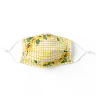 Country Yellow Gingham Plaid & Sunflowers Adult Cloth Face Mask