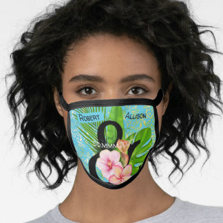 Couples cute tropical pattern washable custom face mask