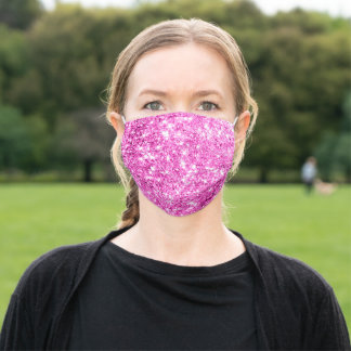 Covid-19 Pink Glitter Sparkly Girly Glitter Effect Adult Cloth Face Mask
