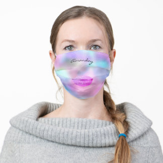 Covid-19 Pink  Lips Monogram Name Custom Holograph Adult Cloth Face Mask