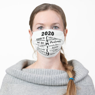 Covid Family Christmas | Fun 2020 Holiday Wordart Adult Cloth Face Mask