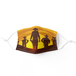 Cowboy Ranch Sunset Texas Adult Cloth Face Mask