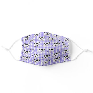 Cows on Purple Gingham Adult Cloth Face Mask