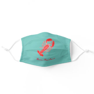 Crawfish Crayfish Lobster Teal Merry Christmas Adult Cloth Face Mask