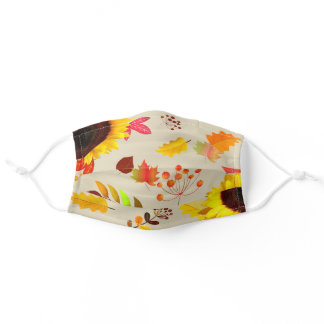 Cream Off White Autumn Leaves Cloth Face Masks