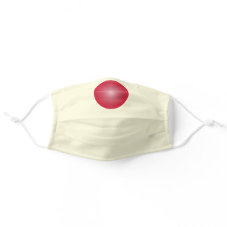 Cream solid color with Red Nose Adult Cloth Face Mask