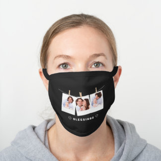 Create Your Own Instagram Photo Collage Black Cotton Face Mask