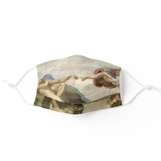 Creation of Adam Michelangelo Italian Art Genesis Adult Cloth Face Mask