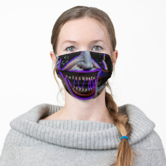 Creepy Neon Halloween Mouth Adult Cloth Face Mask