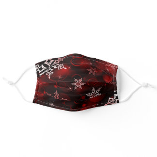 Crimson Red Snowflake Motif Adult Cloth Face Mask