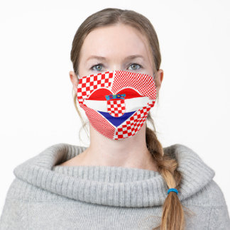 Croatia in Heart Collage Adult Cloth Face Mask