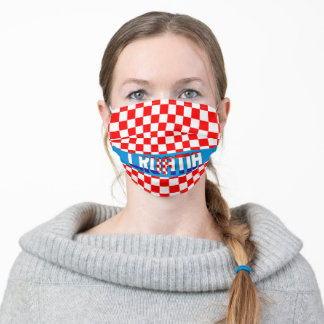 Croatia Inscription Checkered Pattern Flag Adult Cloth Face Mask