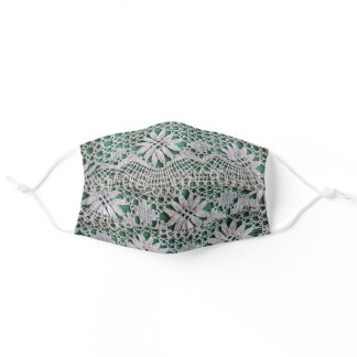 Crocheted Lace on Green Print Adult Cloth Face Mask
