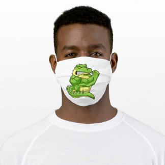Crocodile as Bodybuilder with big Muscles Adult Cloth Face Mask