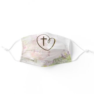 Cross and Heart Soft Pastel Tree Flowers Adult Cloth Face Mask