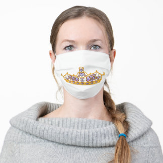 Crown of Hearts Gold Tiara Bold Contrast Adult Cloth Face Mask