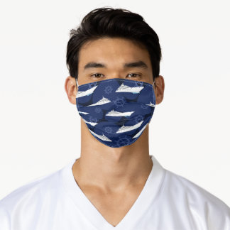 Cruising Ocean Liners Blue White Designer Adult Cloth Face Mask