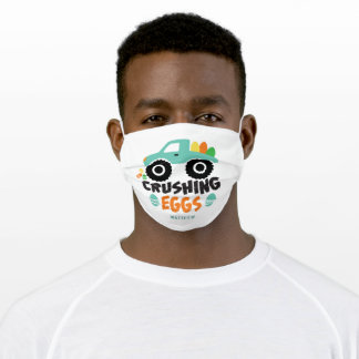 Crushing Eggs Cool Modern Easter Truck Name Adult Cloth Face Mask