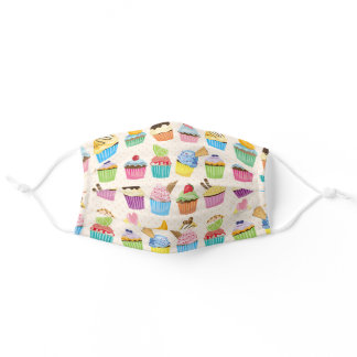 Cupcakes Monogram Delicious Sweet Baked Goodies Adult Cloth Face Mask