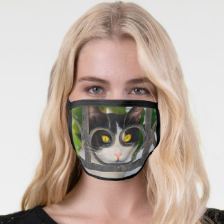 Curious Cat with Spectacles Frame Funny Pet Photo Face Mask