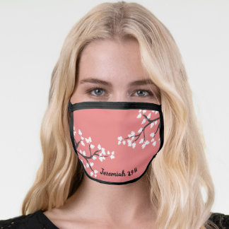 CUSTOM Bible Scripture Text on Pretty Floral Coral Face Mask