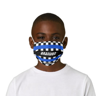 Custom Black White Auto Car Race Checkered Flags Kids' Cloth Face Mask