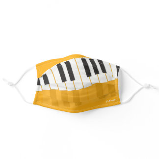 Custom Black & White Piano Keyboard Add Your Name Adult Cloth Face Mask