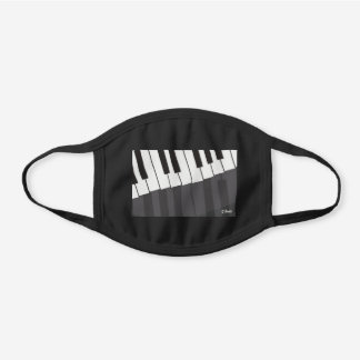 Custom Black & White Piano Keyboard Add Your Name Black Cotton Face Mask