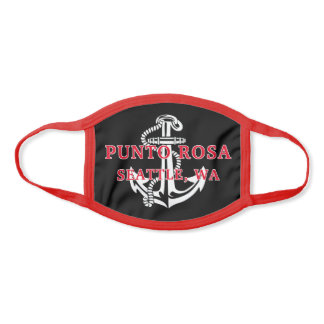 Custom Boat Name White Anchor On Red Black Face Mask