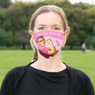 Custom Breast Cancer Awareness Rosie the Riveter A Adult Cloth Face Mask