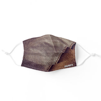Custom Brown Leather Pattern, Manly Gifts, Men Adult Cloth Face Mask