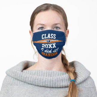 Custom Burnt Orange and Navy Blue Graduation Adult Cloth Face Mask
