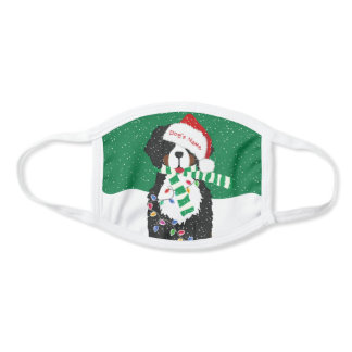 Custom Christmas Bernese Mt Holiday Dog Green Face Mask