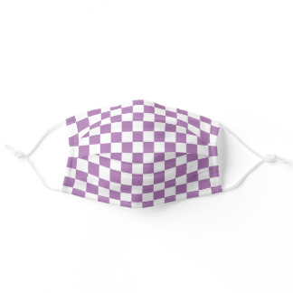 Custom Color Purple and White Checkerboard Pattern Adult Cloth Face Mask