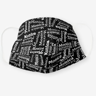 Custom Cute Cool Black And White Your Name Pattern Cloth Face Mask