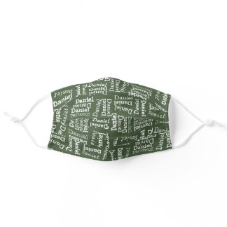 Custom Cute Dark Green And White Your Name Pattern Adult Cloth Face Mask