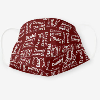 Custom Cute Dark Red And White Your Name Pattern Cloth Face Mask