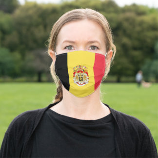 Custom Flag of Belgium Black Yellow Red  Adult Cloth Face Mask