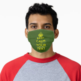 Custom funny Keep Calm green and yellow large size Adult Cloth Face Mask