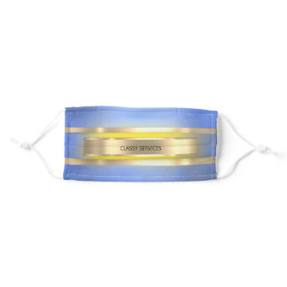 Custom Gold Blue Yellow Golden Stripes Color Glam Adult Cloth Face Mask