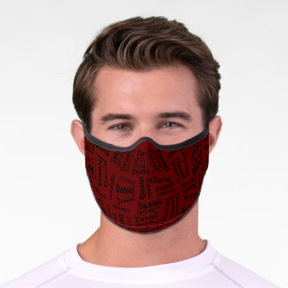 Custom Hip Black Your Name Pattern On Dark Red Premium Face Mask