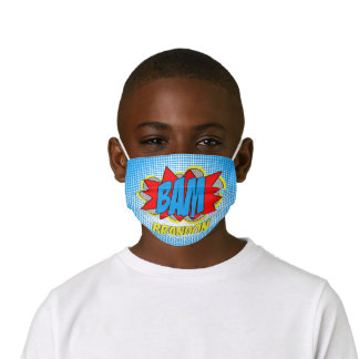 Custom Hip Comic Book Pop Art Red Blue Yellow BAM! Kids' Cloth Face Mask