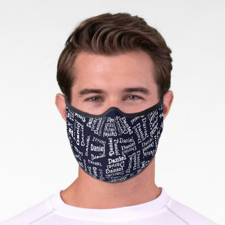 Custom Hip Dark Blue And White Your Name Pattern Premium Face Mask