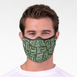Custom Hip Dark Green And White Your Name Pattern Premium Face Mask