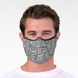 Custom Hip Gray And White Your Name Pattern Premium Face Mask