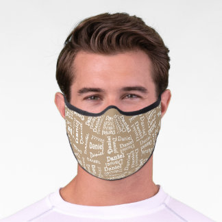 Custom Hip Taupe Brown White Your Name Pattern Premium Face Mask