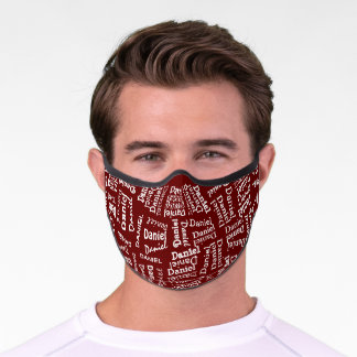 Custom Hip White Your Name Pattern On Dark Red Premium Face Mask