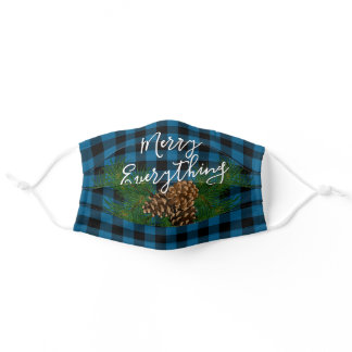 Custom Merry Everything Wish Quote Checks Pattern Adult Cloth Face Mask