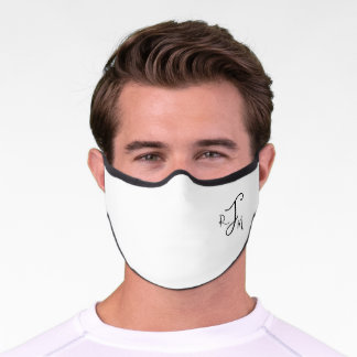 Custom Monogram in Modern Script typography, White Premium Face Mask